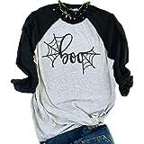 FAYALEQ Halloween Spider Web Baseball T-Shirt Women 3/4 Sleeve Funny Costume Tee Splicing Tops