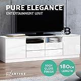Artiss TV Unit 180cm Length Entertainment Unit High Gloss TV Cabinet Console Table, White
