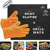GRILL HOG BBQ Gift Set - Non-Stick Silicone Gloves &Teflon Mats
