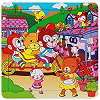 ACHICOO 木製パズル 漫画パターン 可愛い 知育 クリエイティブ おもしろい 教育玩具 赤ちゃん 子供 JX-026アミューズメントパーク