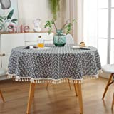 ZEENEEK Round Tablecloth, Stripe Cotton Line Tassel Table Cover Nordic Twill Tablecloth Washable Dining Decorative for Holida