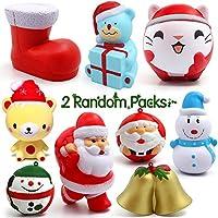 ジャンボSquishies、fly2sky Slow RisingジャンボSquishiesおもちゃストレスリリースのためのクリスマスのギフトランダムKidsとクリスマスデコレーション( 2個入りパック)