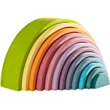 MerryHeart Wooden Rainbow Stacking Toy, 12 Piece Wooden Rainbow Stacker, Extra Large Rainbow Stacking Toy, Nesting Puzzle Bui