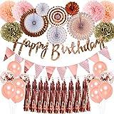 誕生日飾り付け ローズゴールド happy birthday 三角 バナー ペーパーファン happy birthdayバナー タッセルガーランド シャンパンカラー 女の子 誕生日 ベビーシャワー飾り 39枚セット