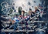 """アベンジャーズムービー印刷RDJ、Stan Lee、Joss Whedon、マーク・ラファロ、トム・ヒドルストン、Scarlett Johansson、Samuel L Jackson、Chris Hemsworth、クリス・エヴァンス、クラークGregg、ジェレミー・レナー 11.7"""" x 8.3"""""""