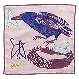楠橋紋織 ハンドタオル ベージュ 約25cm×25cm MiW ガーゼハンカチ カラス A-65933-86-BE