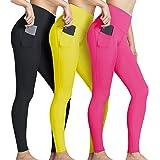 ATHLIO Women's (Pack of 3) 21 Inches Active High-Waist Tummy-Control Bike Running Yoga Capri w Hidden/Side Pocket