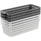 Vcansay Small and Rectangle Plastic Storage Baskets, White and Grey, 6 Packs