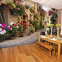 HANHUAN ストリート風景壁画壁紙花フルウォールアートプリントホームインテリア写真壁紙
