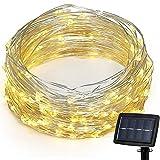 GOSHOP 22M 150 LED イルミネーションライト ストリングライト ソーラーパネル充電式 ジュエリーライト ワイヤーライト 結婚式 / パーティー / ガーデン / 庭 / 電飾 / クリスマス / 屋外、室内の飾り 防水 ウォームホワイト