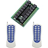 eMylo DC 12V Wireless Remote Control Momentary Light Switch 16CH 433Mhz RF Relay Receiver with Transmitter