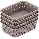 EZOWare Small Gray Plastic Knit Storage Basket Trays Drawer Divider Organizer Bins - 7.7 x 5.3 x 2.4 inch, Pack of 4