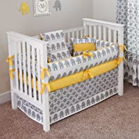 CUSTOM BOUTIQUE BABY BEDDING - Ele Yellow - 5 Pc Crib Bedding Set by Sofia Bedding