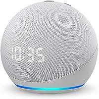 Echo Dot (エコードット) 第4世代 - 時計付きスマートスピーカー with Alexa、グレーシャーホワイト