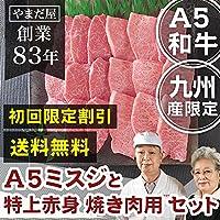 初回限定割引 九州産 黒毛和牛 鹿児島 佐賀 長崎 A5 5等級 和牛 極上ミスジ 特上赤身厚切り 焼肉 2種セット(2~3人前)