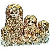 King & Light - 10pcs Golden of Plum Pattern Russian Nesting Dolls Matryoshka Wooden Toys