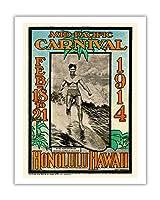 1914ミッドパシフィック・カーニバル - ホノルルハワイ - 特長デューク・カハナモク、世界のチャンピオンのスイマー - ビンテージなカーニバルのポスター によって作成された ルー・ヘンダーソン, ネッド・スティール c.1914 - アートポスター - 28cm x 36cm