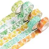 Yubbaex 花葉マスキングテープ 15mm幅 x 7m長 薄いです プレゼント包装、DIY工芸品、ノートの装飾に使える (葉っぱ感 6巻)