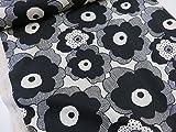 綿麻 マリメッコ風大きな花柄 ブラック黒 キャンバス生地   |北欧風|生地|布地|