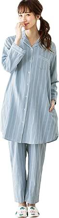 ANGELIEBE エンジェリーベ マタニティ 授乳しやすい ストライプ ダブルガーゼ パジャマ 産前産後 授乳服 前開き 長袖 M~L サックス×オフストライプ 29211502