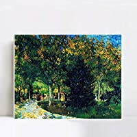 """INVIN ART Framed Avenue in the Park, 1888 by Vincent Van Gogh Wall Art Living Room Home Office Decorations(White Slim Frame,24""""x32"""")"""