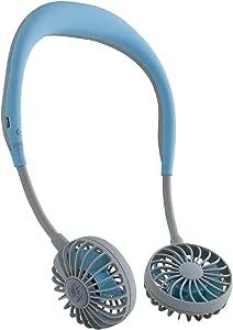 SPICE OF LIFE ハンズフリー ポータブル 扇風機 WFan(ダブルファン) アイスブルー 携帯 首掛け USB充電式 風量3段階調節 角度調整 5枚羽根 安全性試験済 6ヶ月保証 DF30SS01-MT