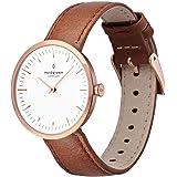 【セット】Nordgreen[ノードグリーン] 【Infinity】レディース北欧デザインのローズゴールドの32mm(小さめ)腕時計と付け替え可能なベルト3本・ブラウンとブラックレザーとローズゴールドメッシュ