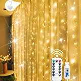 300 LED Curtain Lights, 9.8 Ft by 9.8 Ft Curtain String Lights for Bedroom, Warm White Curtain Fairy Lights, 8 Lighting Modes