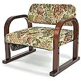 立ち上がりラクラク 優しいお座敷座椅子 「みやび」 (高さ3段階調節) ゴブラン織り 天然木製 フラワー柄 (3)
