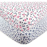 Hudson Baby 2 Piece Cotton Fitted Crib Sheet Floral One Size [並行輸入品]