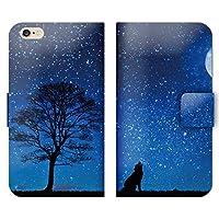 iPhone6s ケース 手帳型 ストラップホール付 オオカミ 遠吠え 星空 夜空 W002802_05