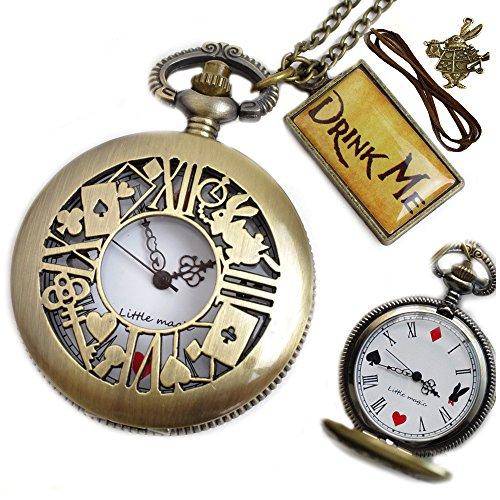 [リトルマジック] 白文字盤 時計うさぎ 日本メーカー製クオーツ アリス 懐中時計 レディース 5点 ギフトBOXセット(時計うさぎ 白文字盤) LM1280