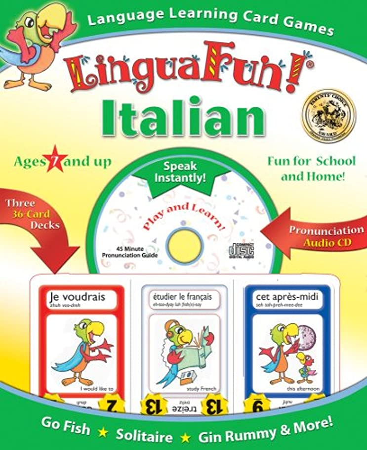 ファン取り付け学校の先生Linguafun! Italian: Go Fish / Solitaire / Gin Rummy / and More
