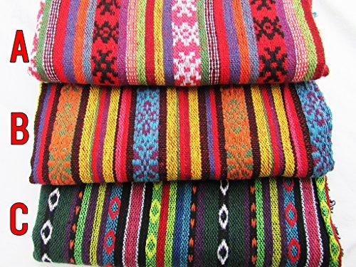 手織り リネン ストライプ 生地 ( 120cm × 110...