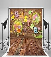 laeacco 3x 5ftシンビニール写真バックドロップイースター文字パターン壁Egg Chicks木製壁と床シーンテーマBackドロップ1x 1.5写真背景スタジオ小道具