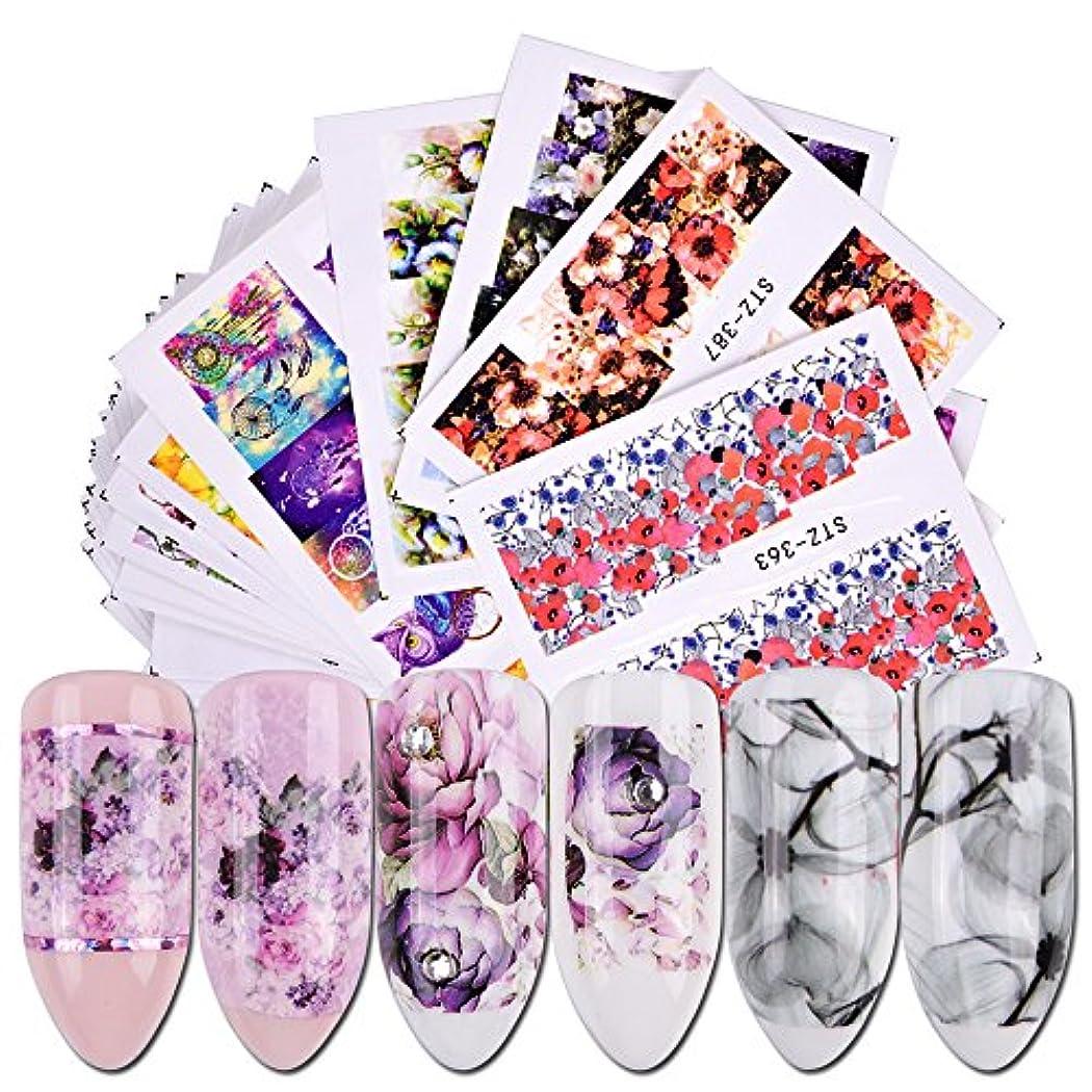 甘やかすにじみ出る複製40pcs Nail Sticker Water Decals Flowers Watermark Ink Slider for Nails Art Decoration Gel Nail Manicure Accessories JISTZ352-391