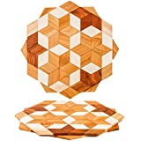 Natural Wood Trivets For Hot Dishes Set Sturdy 8'', Pots and Pans - 2 Eco Friendly Hot Pads for Kitchen Counter - Round Stand