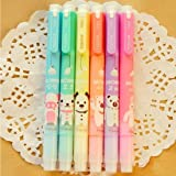 Set of 6 Cute Kawaii Novelty Cartoon Colored Assorted Animals Double Tips Highlighters Pens Fluorescent Ink Markers 6 Set For