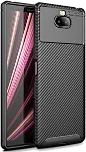 【FINON】 スマホケース Xperia 10 専用 ケース カバー 【 カーボン デザイン (素材/TPU) 】 指紋防止 薄型 軽量 耐衝撃 簡易脱着 ソフトケース カラー:ブラック