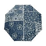 ユキオ(UKIO) ワンタッチ自動開閉 折りたたみ傘 レディース 三つ折り傘 アンブレラ 綺麗な花柄 復古 クラシック 欧米風 お洒落 撥水性 雨傘 鞄に常備 風に強い(耐風) 晴雨兼用 プレゼントに人気 8本骨 ファッション 自動傘