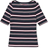 Tommy Hilfiger Women's Adaptive Stripe Boatneck Top with Extended Neckline