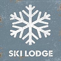 スキーロッジメタルサイン、スキー、スポーツ、冬、山、キャビン、Lodge