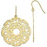 14k Yellow Gold Lace Filigree Drop Dangle Chandelier Earrings Fine Jewelry For Women