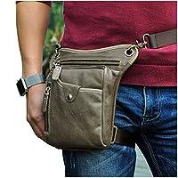 Le'aokuu Mens Genuine Leather Messenger Riding Hip Bum Waist Pack Drop Leg Cross Over Bag (The 211-5 Gray 1) [並行輸入品]