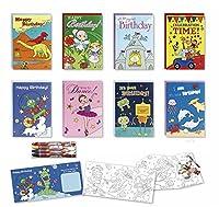 カラーリング誕生日カードボックス詰め合わせセット8パックキッズ誕生日カードバルク誕生日カードfor Kids withクレヨン