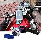 JX-SHOPPU スイッチ付き 蓋つき防水 バイク 汎用 12V-24V 充電器 USB チャージャー 5V1A スイッチタイプ ブルー