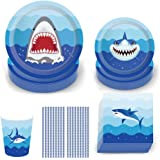 Shark Disposable Tableware Set, 69Pcs Shark Party Supplies with Plates Napkins Cups and Straws for Kids Birthday Baby Shower