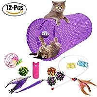Legendog 猫おもちゃ トンネル 折り畳み可能 遊ぶ ボール 噛む 12点セット 羽 全2色 (パープル)