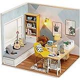 moin moin 1/12 ドールハウス ミニチュア 手作りキット セット サンシャインくまさんルーム ドール のおうち として 人形 | LEDライト + アクリルケース + 制作ツール 2007DH177
