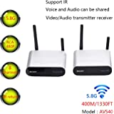 MEASY Wireless AV Sender Transmitter and Receivers IR Remote 400M/1330FT 5.8GHz Wirelessly Transmit, Plug and Play